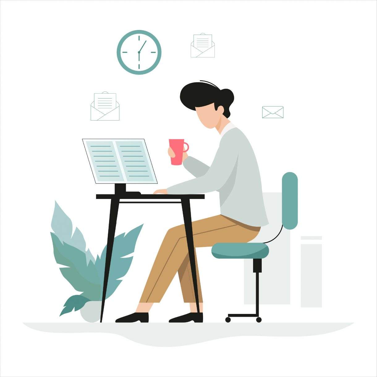 Man working at the desk, office character at the workplace